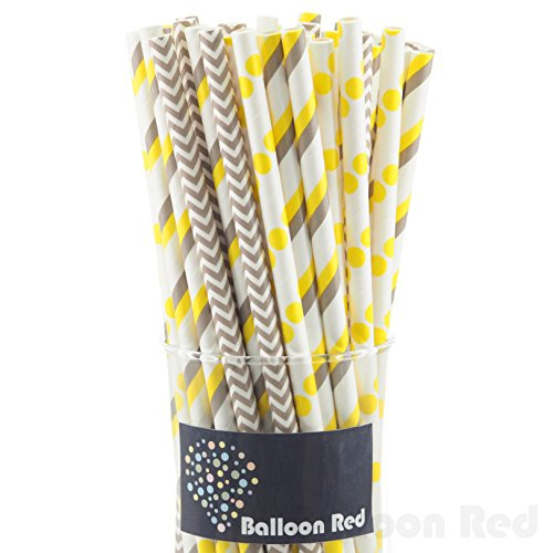 Biodegradable Paper Drinking Straws (Premium Quality), Pack of 75, Combo - Yellow & Grey