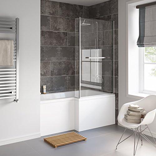 1500 mm derecha en forma de L recto ducha bañera con mampara de ...
