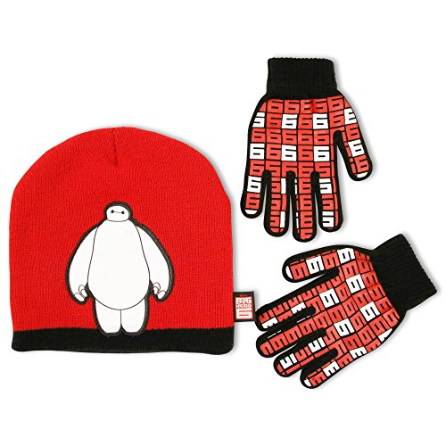 Child Red Baymax Gloves (Disney Big Boys Hero 6 Superhero Baymax Jacquard Acrylic Knit Slouchie Winter Beanie Hat with Sulimated Microfiber Character Applique and Matching Gripper Glove Set, Red, One Size)