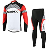 TOMSHOO Cycling Clothing Suits with printing pattern Full Zip Long Sleeve + 3D Padded Pants Trousers Breathable Quick-dry Sportswear Cycling Jacket Jersey