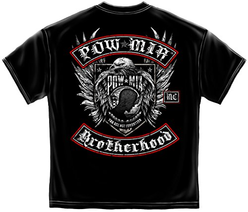 Military T Shirt Pow Mia Biker with Rockers Silver Foil American Flag Marine Corps US Army Air Force US Navy Patriotic 100% Cotton T Shirt Black ADD48-MM2142XL X-Large ()