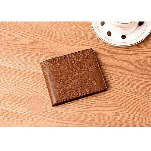 Uomo Protezione Soldi B a Piegatura Porta Kt Tasca Sottile Leather Rfid Portafoglio Doppia Morsetto Morbido qE6OxPvO