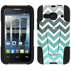 Alcatel One Touch Evolve 2 Hybrid Case Chevron Grey Green Turquoise White 2 Piece Style Silicone Case Cover with Stand for Alcatel One Touch Evolve 2
