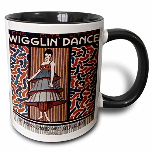 (3dRose BLN Vintage Song Sheet Covers Reproductions - The Cute Little Wiggle Dance Woman in 20s Style Dress Dancing - 15oz Two-Tone Black Mug (mug_171114_9))