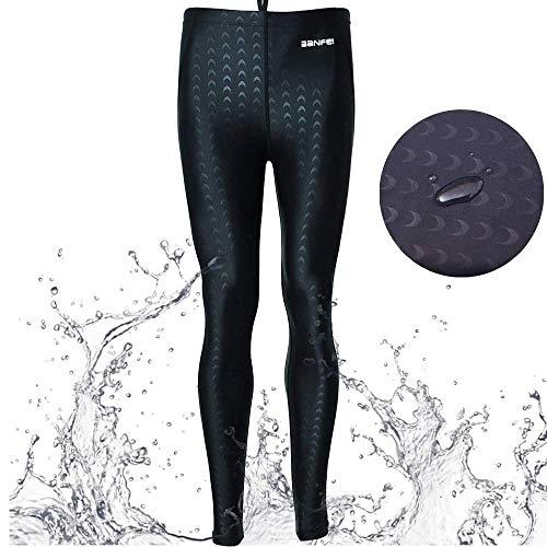 VANPIE Mens Rash Guard Pants Long Bottom Pants Basic Dive Skins UPF 50+ Rash Guard Surfing Snorkeling Tight Swimming Trunk Black S