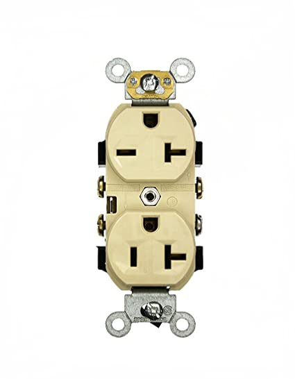 The 220 Volt Plug Amazon Com >> Leviton 5842 I 20 Amp 125 250 Volt Narrow Body Duplex Receptacle Straight Blade Commercial Grade Self Grounding Dual Voltage Ivory