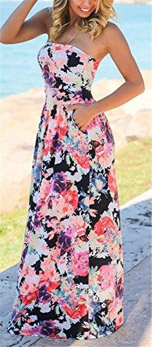 Vestido Mujer YOGLY Mujeres Vestidos Largos Playa Verano Faldas Boho Beach con Flores Camisas sin Hombro negro 1