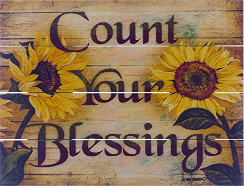 Rustic Pallet Art Inspirational Count Your Blessings Wooden Wall Hanging, 9