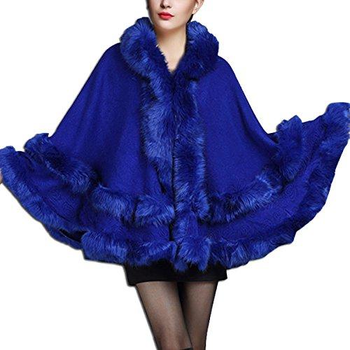 Cabo Ropa Abrigo de Azul Imitación Chaquetas Mujer KAXIDY del Encapuchado Piel Abrigo de de B1q0Uxnw46