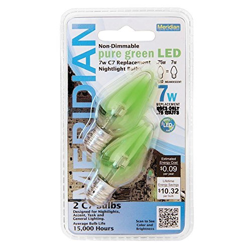 Meridian LED 7W Equivalent Pure Green Clear-C7 Non-Dimmable LED Replacement Light Bulb