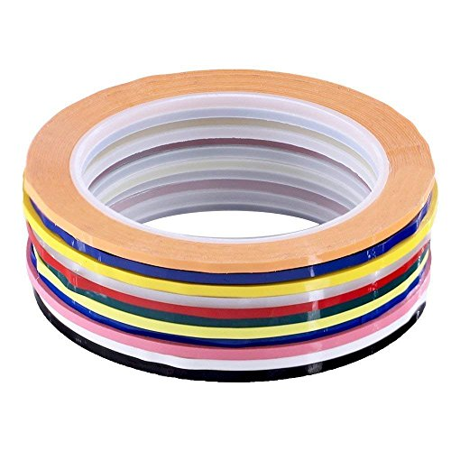 Supla Pack of 11 Colors 1/8 inch Wide Adhesive Graphic Fingerboard Tapes Chart Tapes Grid Marking Tapes Violins Tapes Art Tape Finger Markers,Glossy,1/8 inch Wide X 217 Feet Long per Roll (Directory Board Outdoor)