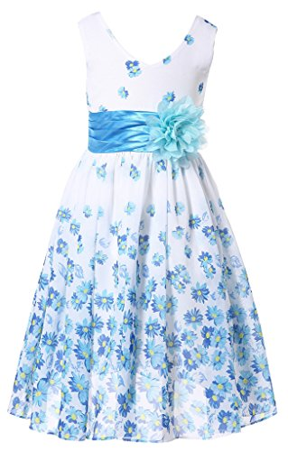 Bow Dream Flower Girl Dress bridesmaid V-Neckline Chiffon Aqua Flower