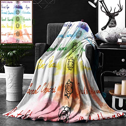 Unique Custom Double Sides Print Flannel Blankets Chakra Decor Brushstroke Inspired Lotus Pose Chakra Spots In The Body Faith And Ha Super Soft Blanketry for Bed Couch, Throw Blanket 40 x 60 Inches by Ralahome