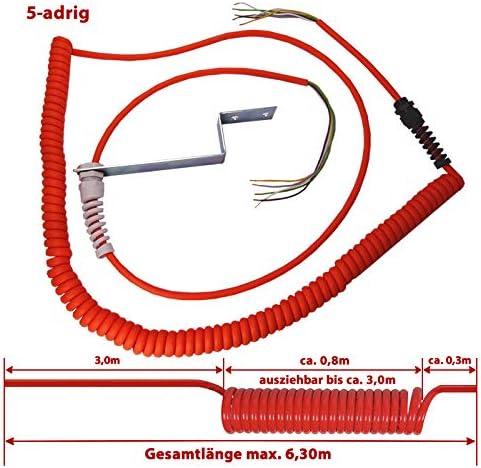 BAUER 6,30m 5-adriges SpiralkabelIndustrie Wendelleitung Gesamtl/änge max