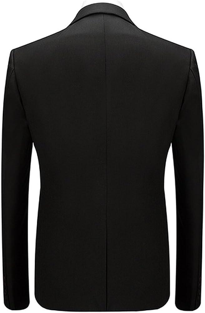 MAGE MALE Mens Casual Suit Slim Fit 3-Piece Business One Button Tuxedo Wedding Dinner Jacket Tux Blazer Vest Pants Sets