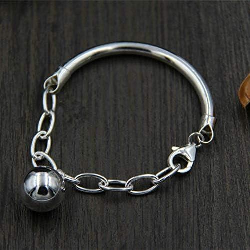 HJPAM Pulsera de Plata esterlina 925 para Mujer Cuentas Redondas Tubo de Cadena Pulseras de Pulido Mixto Pulseras de joyería Fina  Wu9lJh