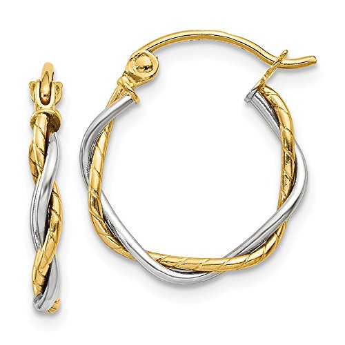 Solid 14k Two-tone Polished 1.8mm Twisted Hoop Earrings 12 ()