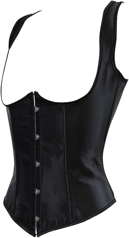 Grebrafan Women Cupless Plus Size Satin Corsets Underbust Vest