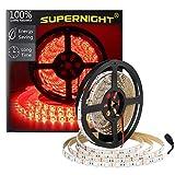 SUPERNIGHT (TM) 16.4FT 5M SMD 5050 Waterproof 300LEDs Red LED Flash Strip Light,LED Flexible Ribbon Lighting Strip,12V 60W