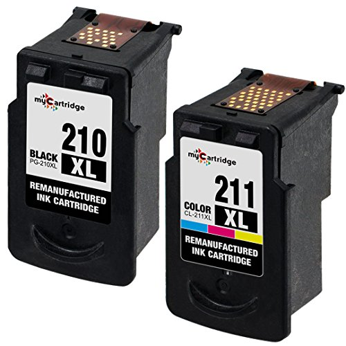 myCartridge Remanufactured Canon PG-210XL CL-211XL 2973B001 2975B001 (1 Black, 1 Color) 2 Pack Ink Cartridge With Ink Level Display For use in PIXMA IP2700 MP240 Series Printer