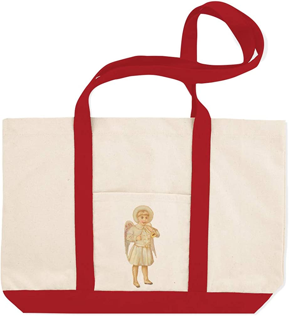 Canvas Shopping Tote Bag Baby Boy Angel White Coat Plays Trumpet Characters Beach for Women Gifts
