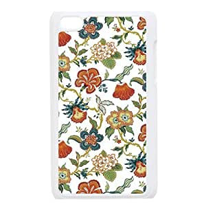 floral pattern flowers print green yellow red Ipod Touch 4 Case White
