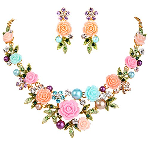 EVER FAITH Crystal Simulated Pearl Multicolor Rose Flower Leaf Bridal Necklace Pierced Earrings Set Gold-Tone (Rose Flowers Necklace Sets)