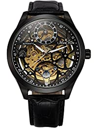 Skeleton Automatic Mechanical Steampunk Watches - ManChDa Men's Big Case 47MM XL Crystal Wrist Watch + Gift Box