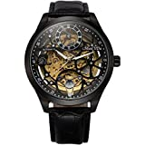 ManChDa Big Case 47MM XL Automatic Mechanical Crystal Black Leather Wrist Watch + Gift Box