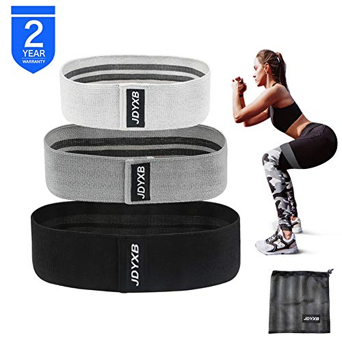 JDYXB Resistance Bands Loop Exercise Bands for Legs and Butt, Set of 3 Fabric Non-Slip Hip Booty Bands Glute Resistance Workout Bands for Gym Sports Yoga for Men and Women
