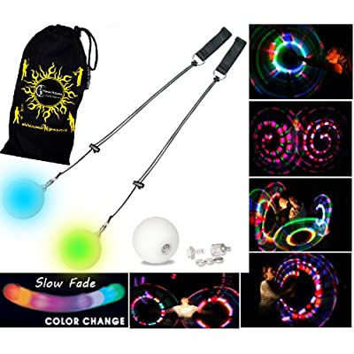 Flames 'N Games LED Poi - Glow Poi - Slow Fade LED Glow Poi Travel Bag!: Toys & Games
