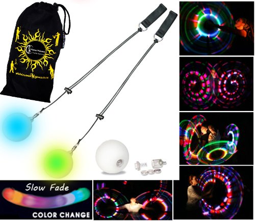 LED Poi - Glow Poi - Slow Fade LED Glow Poi by Flames N Games +Travel Bag! - Led Juggling Balls