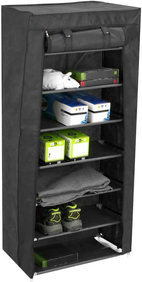 PrimeMatik - Armario ropero y Zapatero de Tela Desmontable 60 x 28 x 120 cm Negro con Puerta Enrollable
