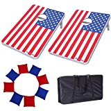 Victoria Young American Flag Supreme Quality Aluminum Frame Cornhole Bean Bag Toss Game Set Portable with 8 Bean Bags ( 2.95ft x 1.95ft)