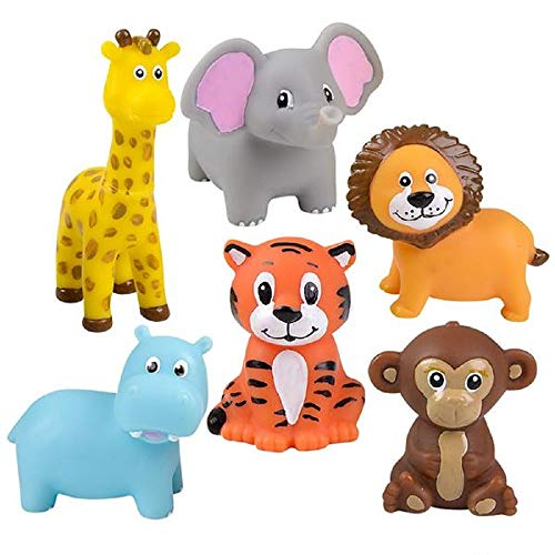 Zoo Animals 2 Inch Vinyl Squeezable Animals - 12 Pack and 1 Vortex Eraser - Cake Toppers, Prizes, Stocking Stuffers, Animal - Figurine Elephant Circus