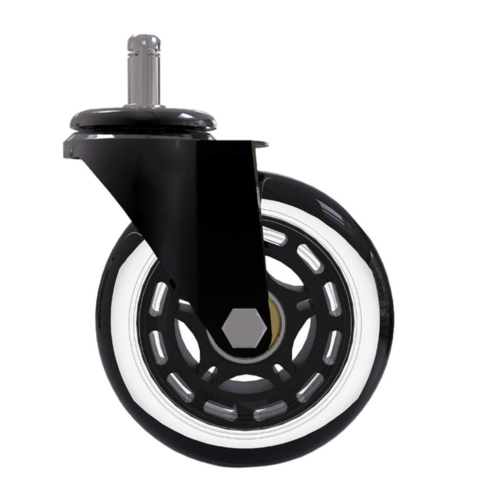 MASIKI 3 inch 5Pcs Office Chair Caster Wheels,PU Replacements Wheels Universal Fit Safe for Hardwood /& Carpet Floor,Smooth /& Quiet Black