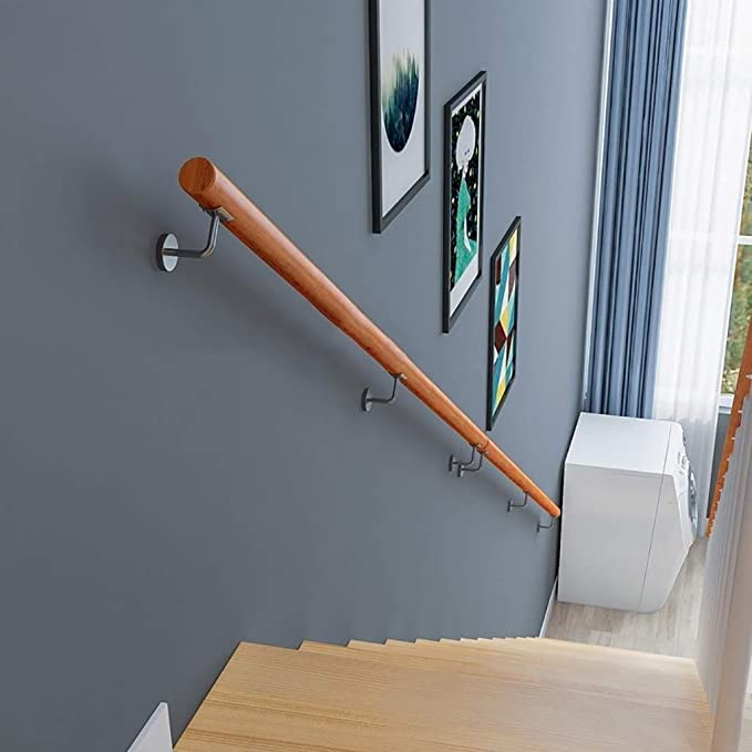 DJSMfs - Pasamanos para escaleras, antideslizante, madera maciza, para casa, contra la pared, para interiores, altillo, villas de ancianos, barandillas, pasillos de apoyo, 80 cm: Amazon.es: Hogar