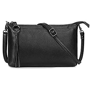 S-ZONE Small Genuine Leather Crossbody Bag for Women Zipper Clutch Purse Shoulder Bag