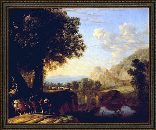 (Art Oyster Herman Van Swanevelt Italian Landscape with Bridge and Castle - 16.05