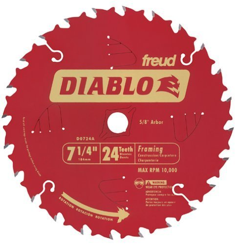 10 PACK Freud D0724A Diablo 7- 1/4-Inch 24 Tooth ATB Framing Saw Blade with 5/8-Inch and Diamond Knockout Arbor