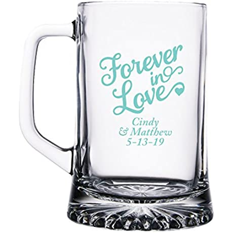 Personalized Color Printed Glass Beer Mug Forever In Love Robins Egg Blue 48 Pack