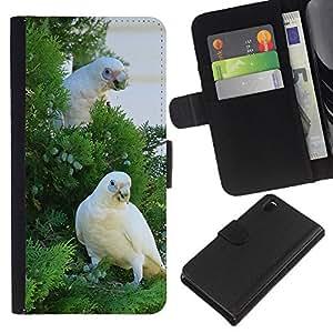 YiPhone /// Tirón de la caja Cartera de cuero con ranuras para tarjetas - Blanco hermoso Cocatoo loro - Sony Xperia Z3 D6603