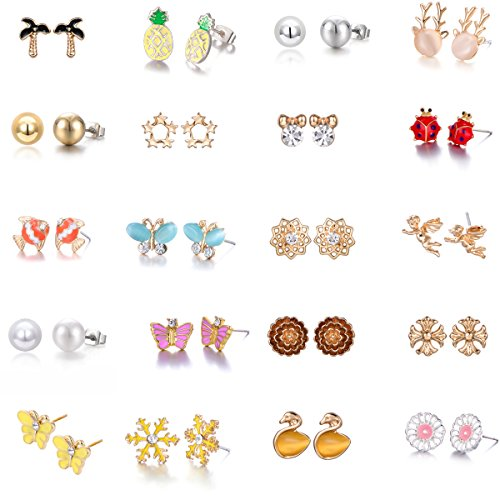 Butterfly Stud Earring Set - 20 Pairs Gold Plated Mixed Cute Animal Pineapple Flower Angel Pearl Snowflake Butterfly Stud Earrings Set for Girls (20 pairs)