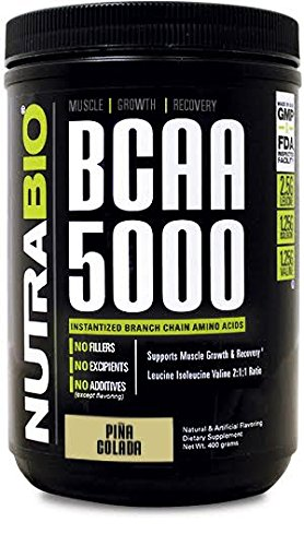 NutraBio BCAA 5000 Powder - 400 Grams - Pina Colada- 100% Pure Branched Chain Amino Acids - HPLC Tested