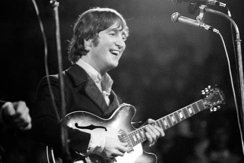 John Lennon 24x36 Poster On Stage Classic The Beatles Playing Guitar Concert At Amazon S Entertainment Collectibles Store