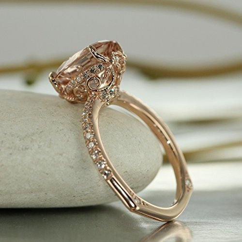Love Flow-11X9 Morganite and VS Diamond in 14K Rose Gold Oval Morganite Engagement Ring Single Claw Prong Setting Euro Style Ring Shank- Bridal Set Available