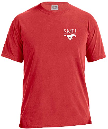 NCAA Smu Mustangs Simple Circle Comfort Color Short Sleeve T-Shirt, Red,Small (Mustang Red T-shirt)