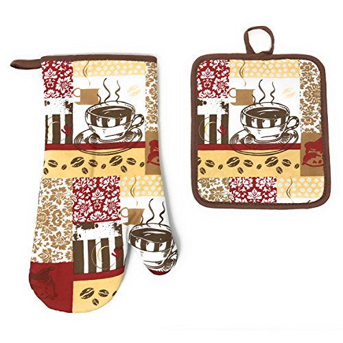 Kitchen Collection Damask Coffee Cup Neoprene Oven Mitt and Potholder Set, Chocolate ()