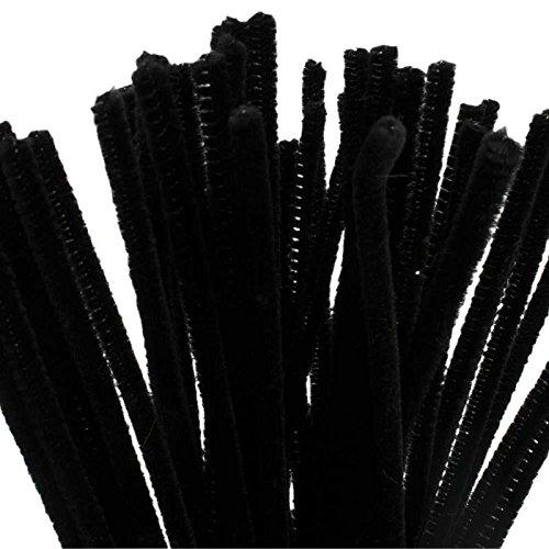 BUDILA® 50x Chenilledraht Biegeplüsch schwarz 6mm dick - 30cm lang