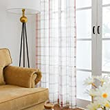 White Checkered Semi Sheer Curtains for Living Room Red and Taupe Check on White Voile Curtains Gingham Linen Look Country Window Curtains for Bedroom, Sold by pair, 84'' Long